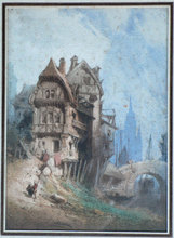 Jean-Louis DEMARNE - Dibujo Acuarela - A Town in Brittany