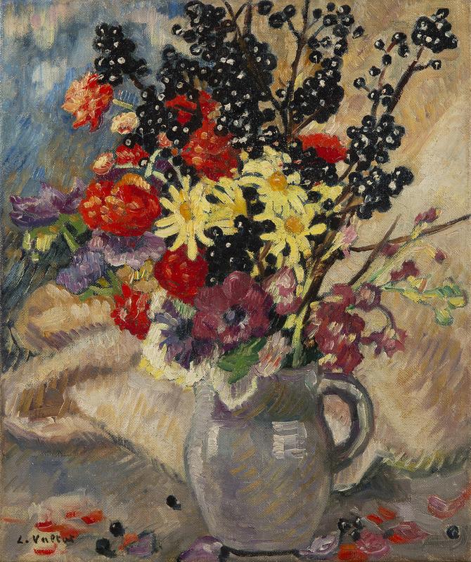 Louis VALTAT - Painting - Bouquet aux branches de cassissier