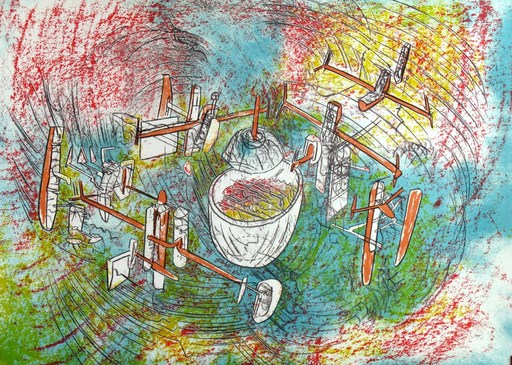 Roberto MATTA - Estampe-Multiple - Interrogation Humaine