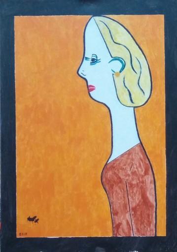 Harry BARTLETT FENNEY - Pittura - femme side view in orange
