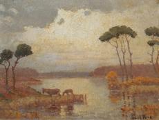 Paul RUE - Pintura - Etang de la BRENNE en BERRY