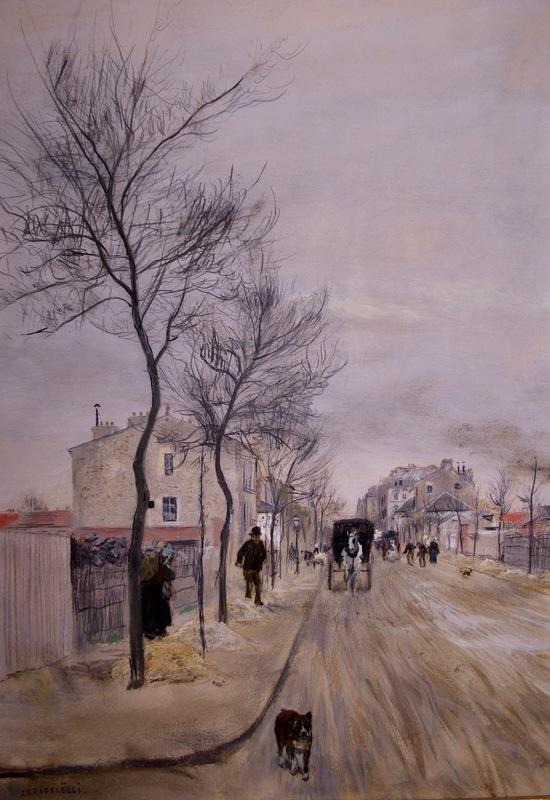 Jean-François RAFFAELLI - Pittura - Une Rue en Hiver, Pres de Paris