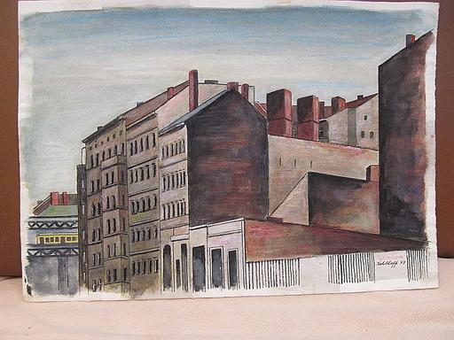 Walter KOHLHOFF - Disegno Acquarello - Häuser am  Schlesischen Tor - Berlin