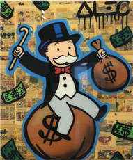 Alec MONOPOLY - Pittura - Monopoly Sitting on money bag with cane