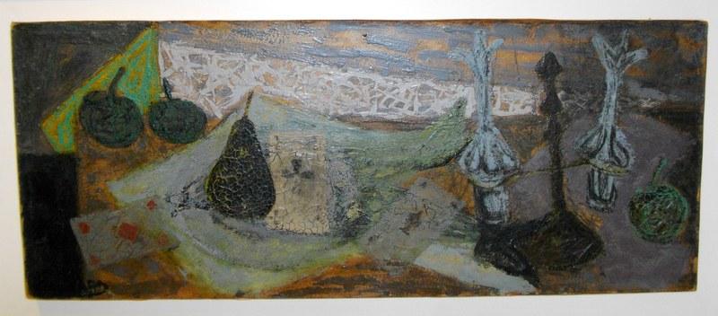 Claude VENARD - Pintura - Nature morte aux cartes