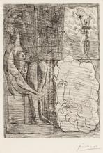 Pablo PICASSO - Grabado - Sculptures et Vase de Fleurs, Pl.76 from 'La Suite Vollard'
