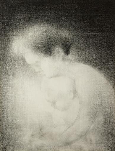 Charles ANGRAND - Dibujo Acuarela - Maternité