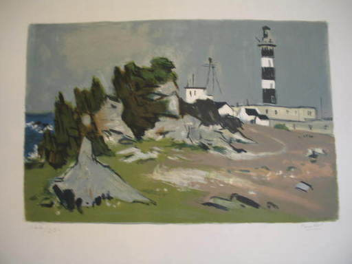 Robert HUMBLOT - Grabado - Le phare en Bretagne,1958.