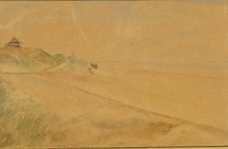 Ernest Jean DELAHAYE - Drawing-Watercolor - DUNES DE LA MER DU NORD PRES DE NIEUPORT