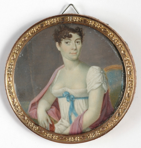 """Giovanni Battista GIGOLA - Disegno Acquarello - """"Portrait of a Lady"""" important miniature, 1811"""