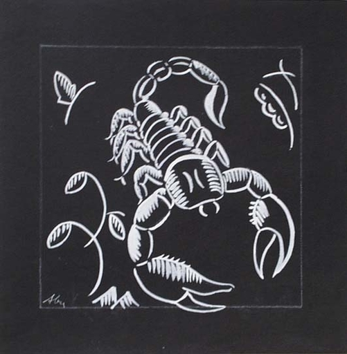 """Alfred BUCHTA - Zeichnung Aquarell - """"Zodiac Sign Scorpio"""", by Alfred Buchta, 1930's"""