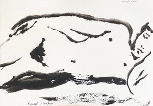 Manuel MONTERO - Dessin-Aquarelle - Nu endormi