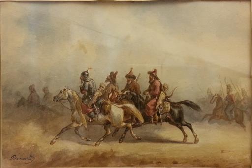 Auguste Sébastien BENARD - Dibujo Acuarela - Cavaliers Baschkirs