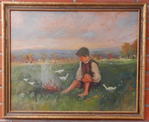 Petr Július KERN - Painting -  Boy at the waterfront