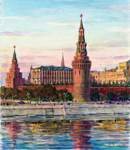 Boris Fedorovich RYBCHENKOV - Dibujo Acuarela - Summer Evening near the Kremlin