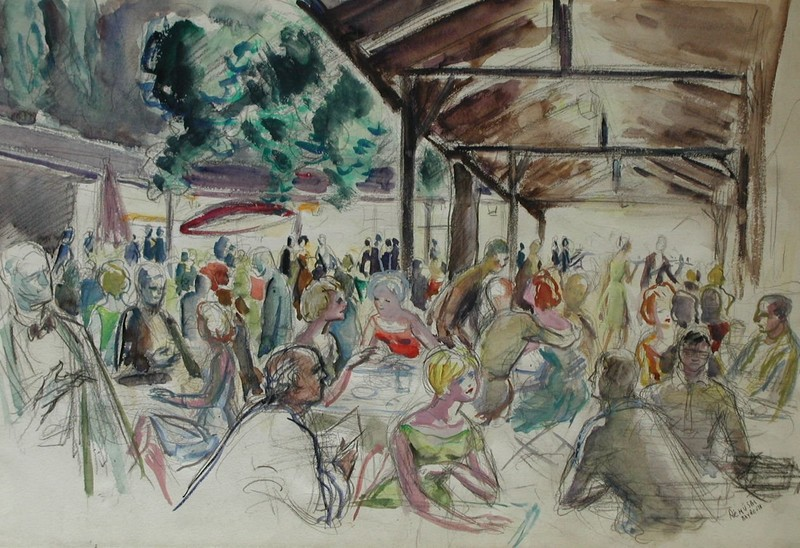 Claude RÉMUSAT - Pintura - BAYREUTH, LE RESTAURANT