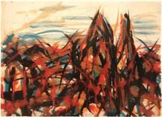 Max UHLIG - Drawing-Watercolor - Herbstbäume vor dem Bodensee, Lindau