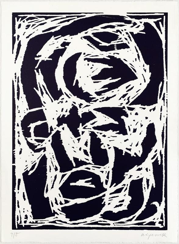 A.R. PENCK - Druckgrafik-Multiple - Kopf (Dunkelblau)