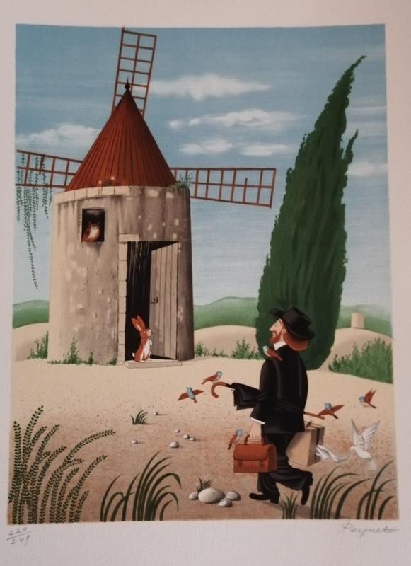 Raymond PEYNET - Estampe-Multiple - Le Moulin de Daudet