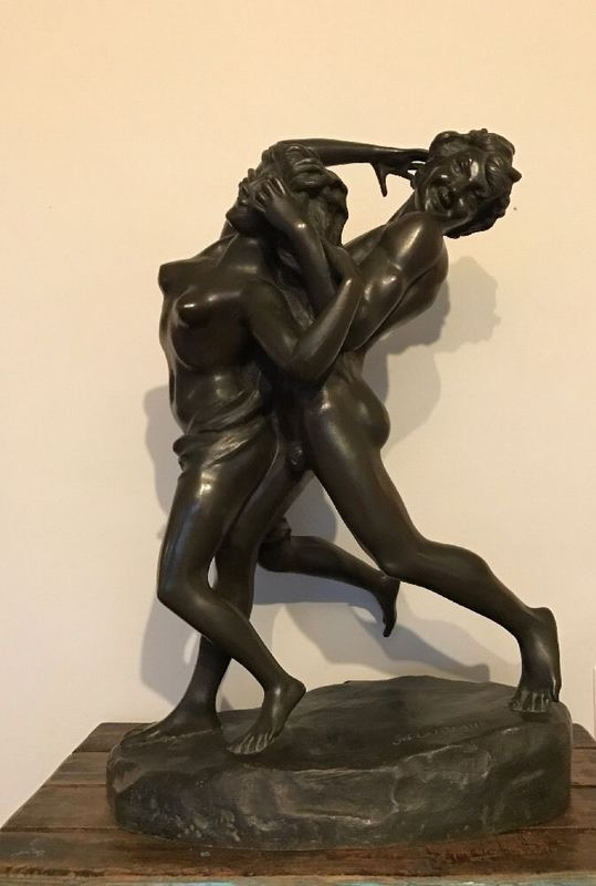 Jef LAMBEAUX - Sculpture-Volume - Nymphe & Faun