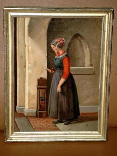 Andreas FRITZ - Painting - Mädchen in friesischer Tracht beim Kirchgang