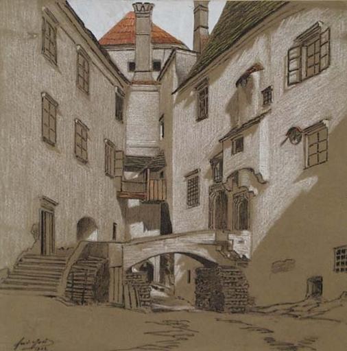 """Ferdinand Karl GOLD - Zeichnung Aquarell - """"In Karlstein near Raabs, Austria"""", 1902"""