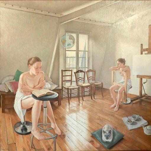 Francine HOVE VAN - Gemälde - ELLES ATTENDENT