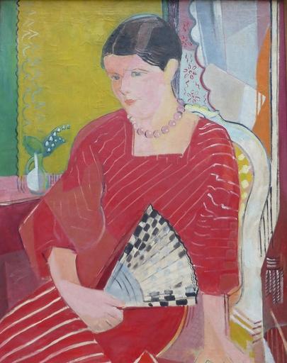 Oskar MOLL - Gemälde - Brigitte mit rotem Kleid