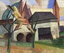 Auguste HERBIN - Peinture - Moulin à Creteil vu du Quai