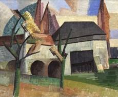 Auguste HERBIN - Pintura - Moulin à Creteil vu du Quai