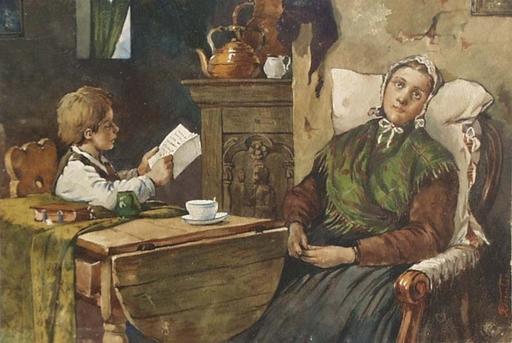 """Angelo TRENTIN - Dibujo Acuarela -  """"Father's Letter"""", Watercolor, ca 1900"""