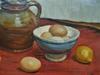 Fernand DAUCHO - Peinture - Nature morte aux oeufs et pichet