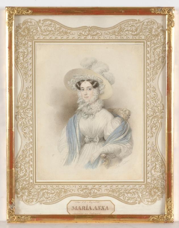 """Johann Nepomuk ENDER - Zeichnung Aquarell - """"Maria Anna Carolina of Austria"""", 1830's"""