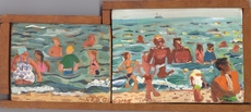 Red GROOMS - Painting - At the Beach