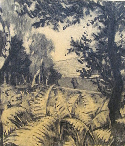 Erich HARTMANN - Disegno Acquarello - Am Waldrand.