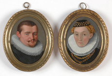 "Lorenz STRAUCH (Attrib.) - Miniature - ""Heinrich Besserer and his wife Johanna, nee Ehinger"", two o"