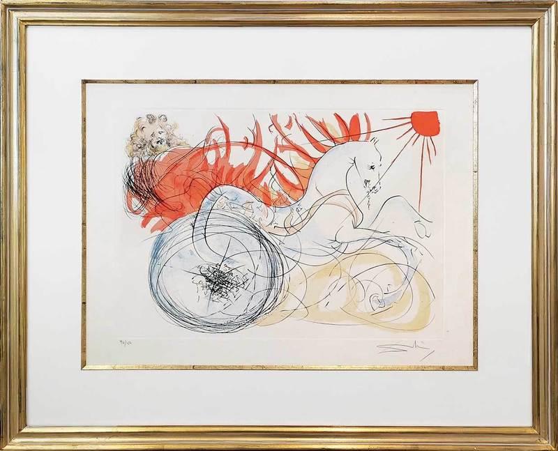 萨尔瓦多·达利 - 版画 - Feuerwagen des Elias