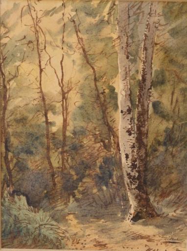 Félix ZIEM - Dibujo Acuarela - Forêt de Fontainebleau