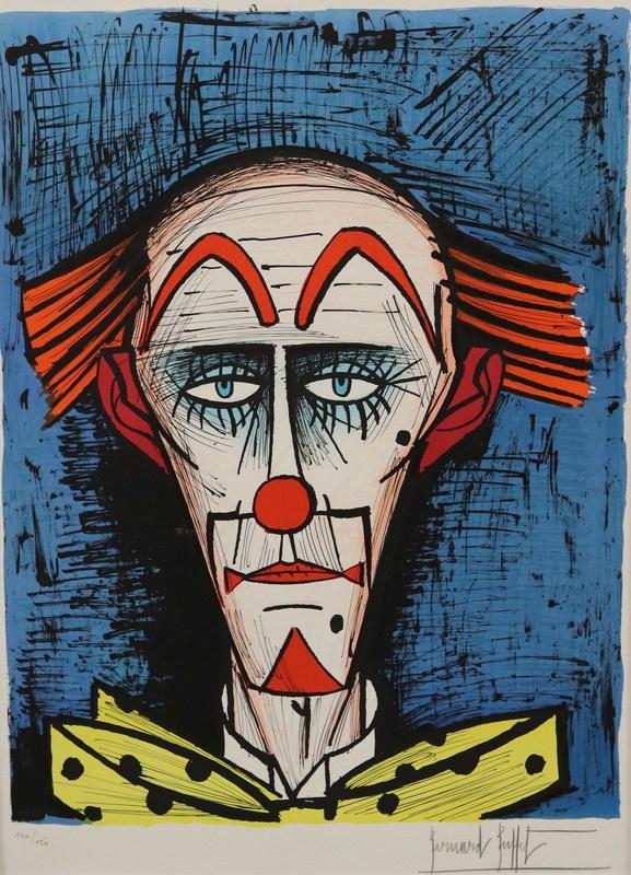 Bernard BUFFET - Grabado - Clown fond bleu