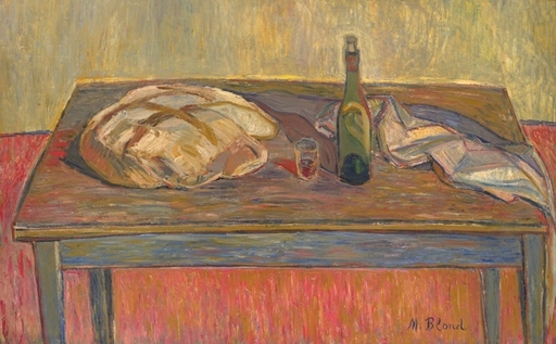 Maurice BLOND - Painting - Still Life with Bread and Bottle