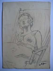 Charles KIFFER - Dibujo Acuarela - DESSIN AU FUSAIN SIGNÉ À LA MAIN HANDSIGNED CHARCOAL DRAWING