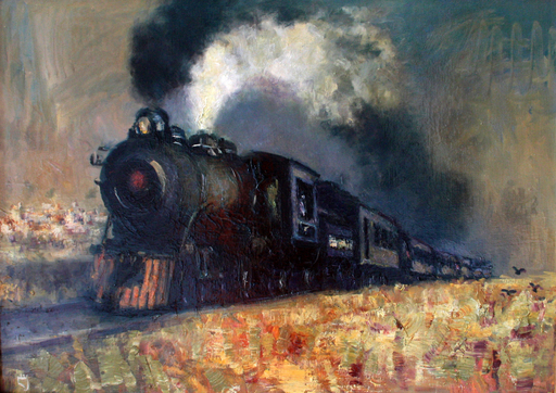 Levan URUSHADZE - Painting - Steam train