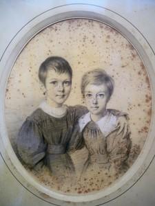 Julien Léopold BOILLY - Dibujo Acuarela - les deux fillettes
