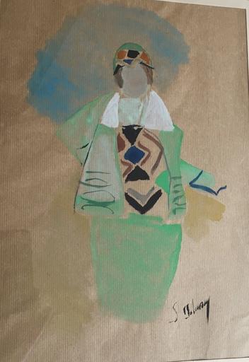 Sonia DELAUNAY-TERK - Disegno Acquarello - Femme en costume