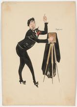 "Rudolf HAFNER - Drawing-Watercolor - ""Cameraman - Stage costume design"" watercolor, 1920s"