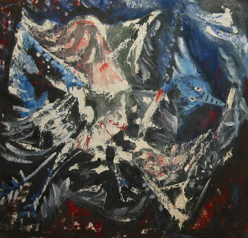 Émile HECQ - Pintura - L'oiseau bleu, 1960