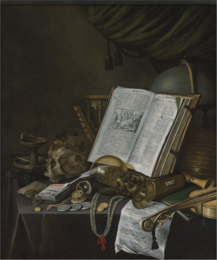 Edwaert COLLIER - Painting - A vanitas still life with coins, pearls ... 1661