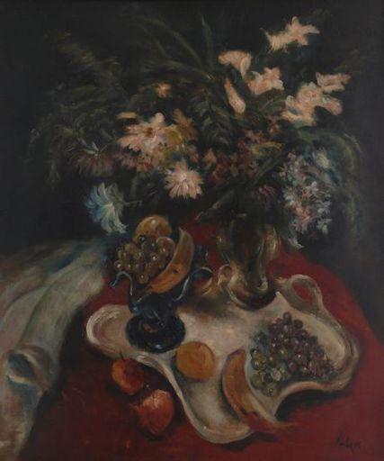 Paul KUHFUSS - Pintura - Stilleben mit Blumen und Obst