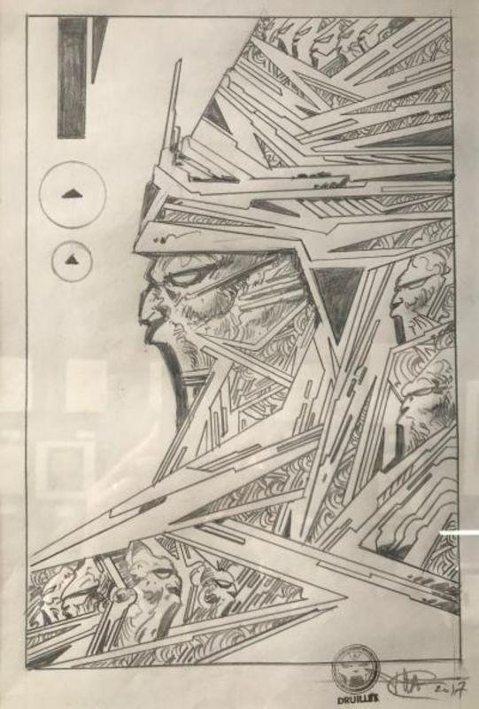 Philippe DRUILLET - Dibujo Acuarela - Guerrier