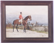 "Hans Johann HAAG - Drawing-Watercolor - ""Scene of Fox Hunting"", Watercolor"